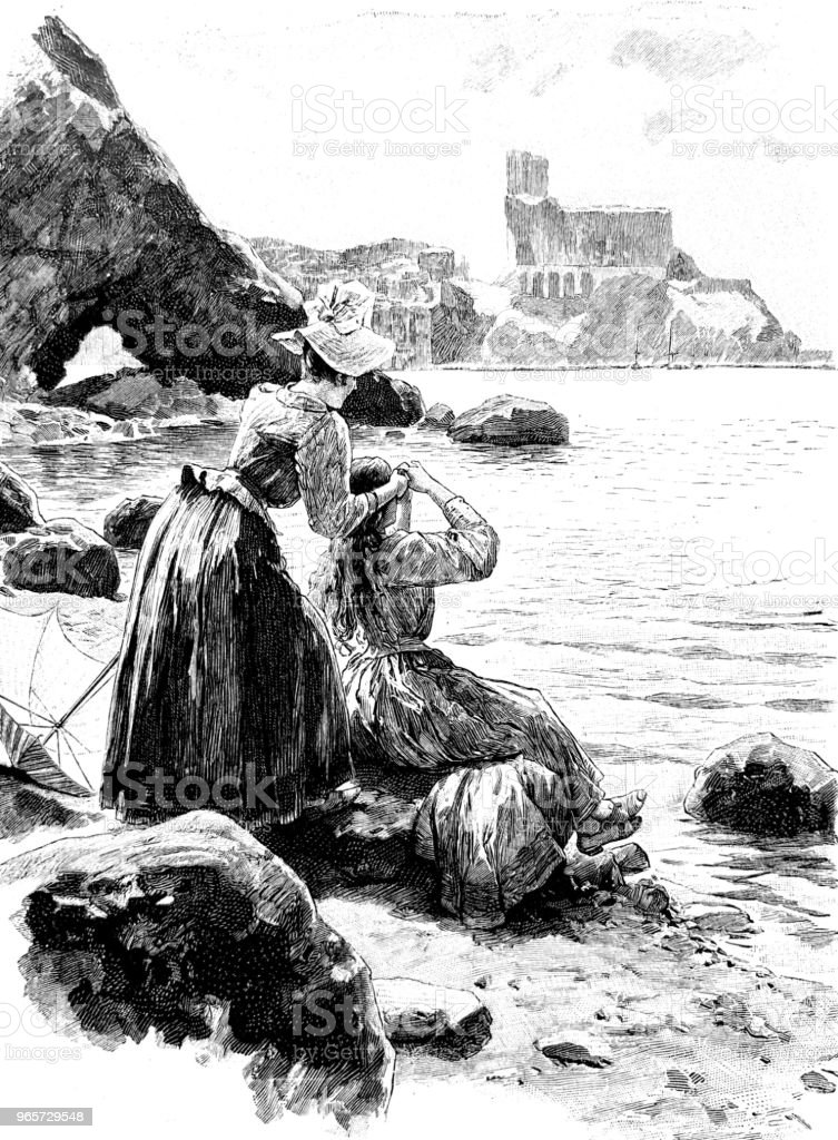 Two women at the beach styling the hair - Royalty-free 1890-1899 stock illustration