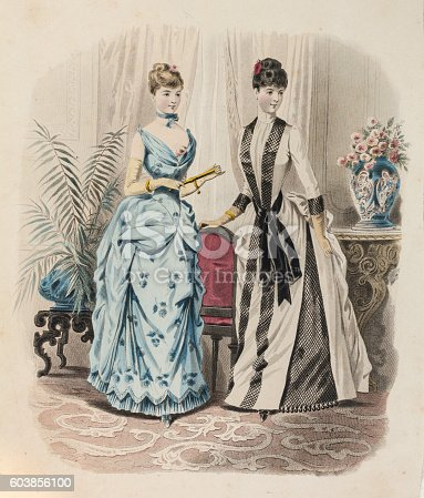istock Two women in evening gown with queue de Paris 603856100