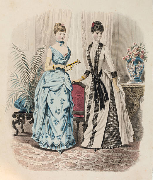 Two women in evening gown with queue de Paris Two women showing dresses in blue  color and white with black ribbon with queue de Paris   corset stock illustrations