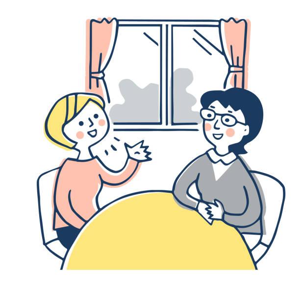 部屋で話している二人の女性 - 母娘 笑顔 日本人点のイラスト素材/クリップアート素材/マンガ素材/アイコン素材