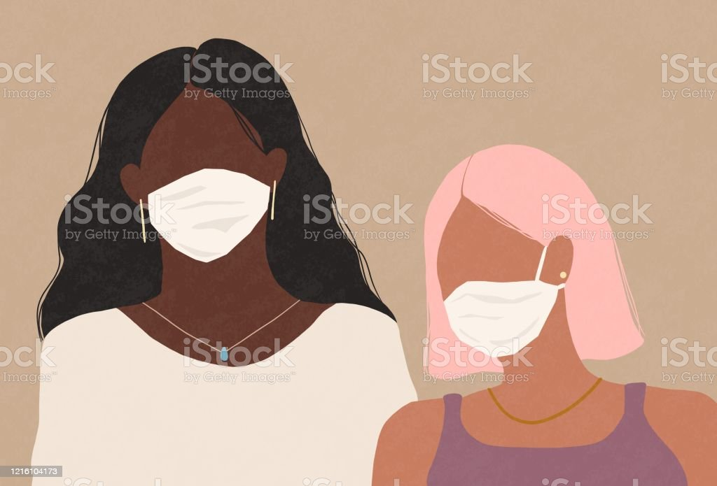 Two women wearing a medical face masks self-control, covid-19, corona virus, stay home, feeling sick, flu virus, women, medical face mask, face mask, confidence, friends, stress, serious Adult stock illustration