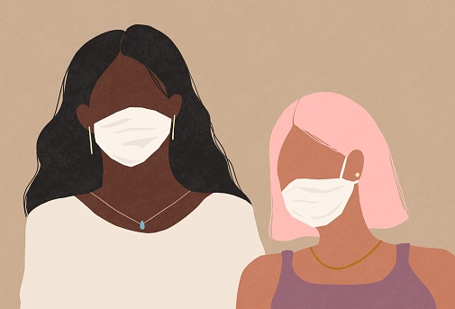 Two Women Wearing A Medical Face Masks Stock Illustration - Download Image Now