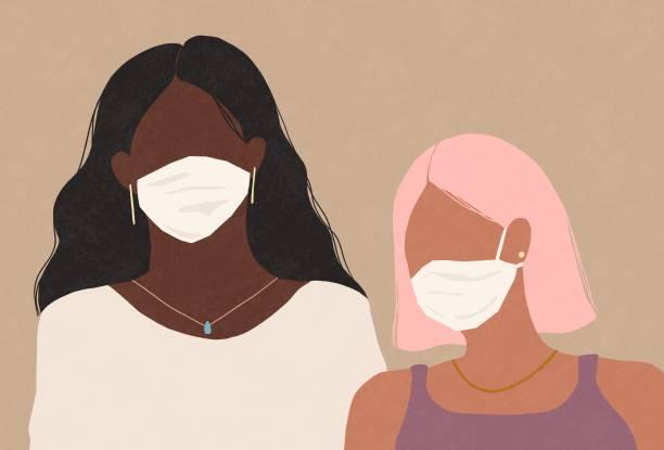 illustrazioni stock, clip art, cartoni animati e icone di tendenza di two women wearing a medical face masks - lockdown