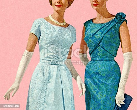 istock Two Women Wearing Evening Gowns 186587086