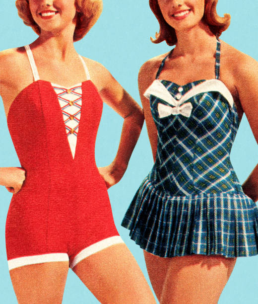 two women wearing swimsuits - beach fashion stock illustrations, clip art, cartoons, & icons