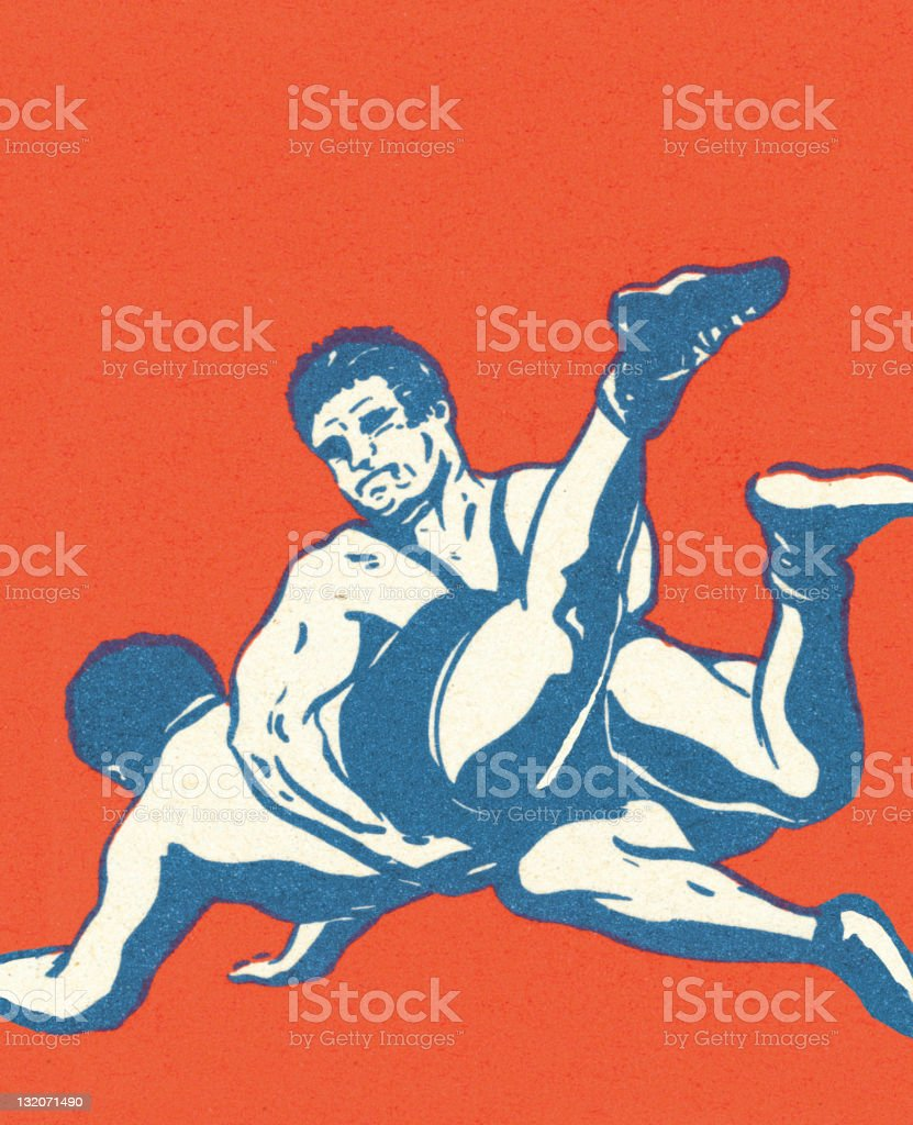 Two Wrestlers vector art illustration