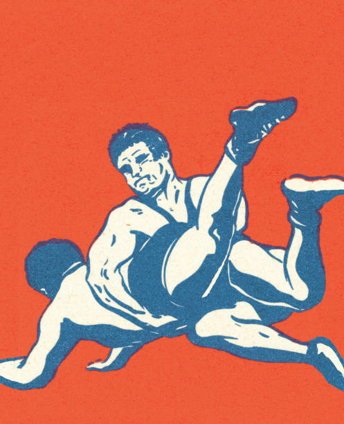 two wrestlers - wrestling stock illustrations, clip art, cartoons, & icons