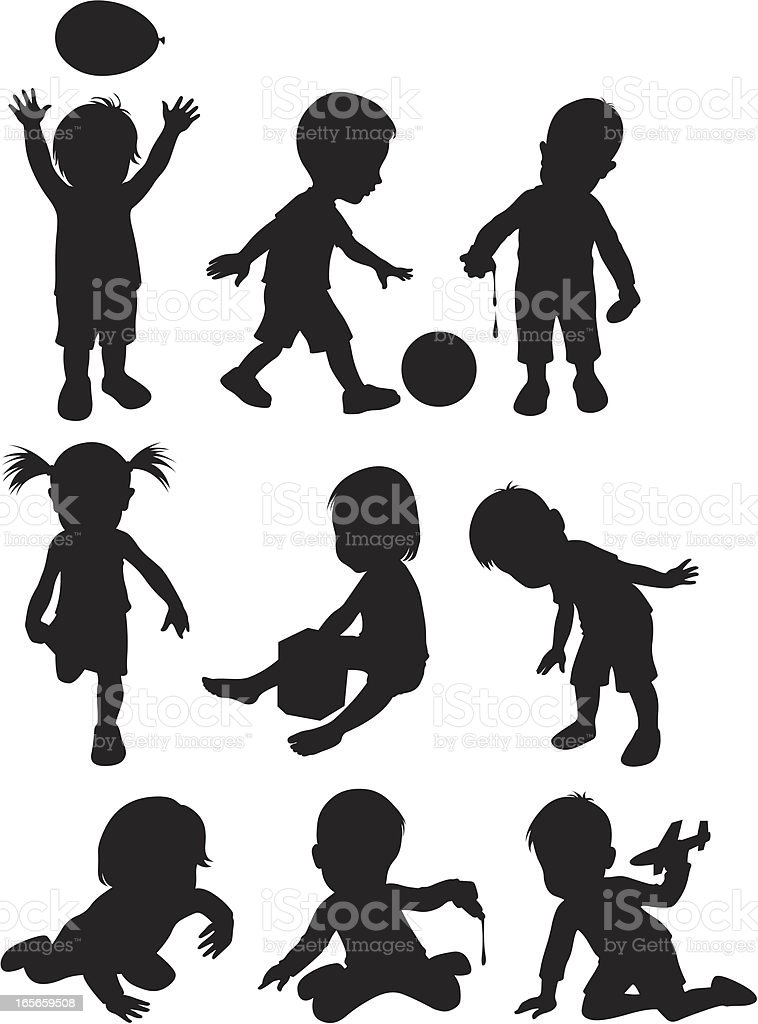 Two year old children ( Cartoon Style ) vector art illustration