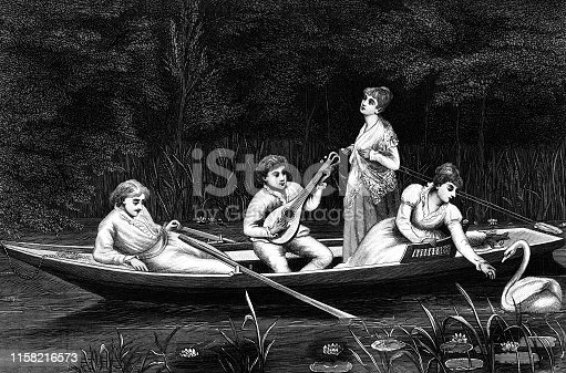 Two young couples in a rowboat at a lake on a double date. Vintage halftone etching circa 19th century.