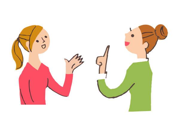 illustrazioni stock, clip art, cartoni animati e icone di tendenza di two young women having a conversation - two students together asian
