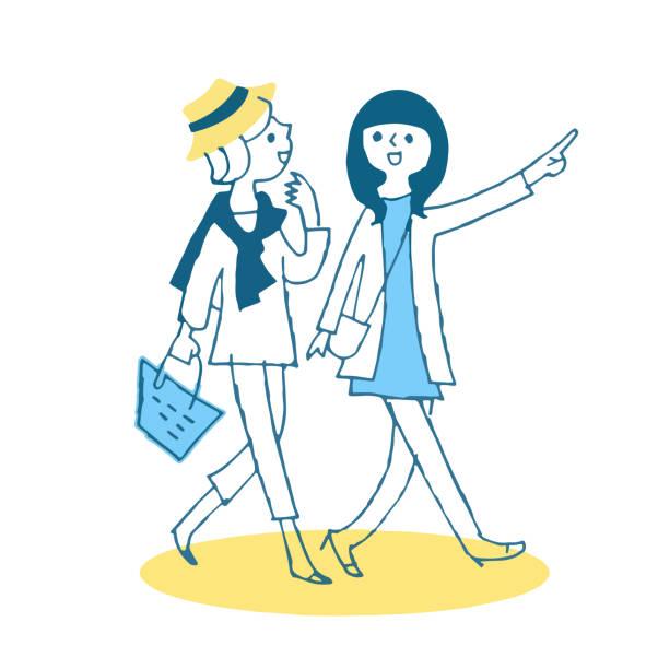 illustrazioni stock, clip art, cartoni animati e icone di tendenza di two young women walking with a smile - two students together asian
