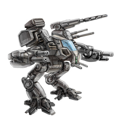 Two-legged walking combat robot. Science fiction illustration.