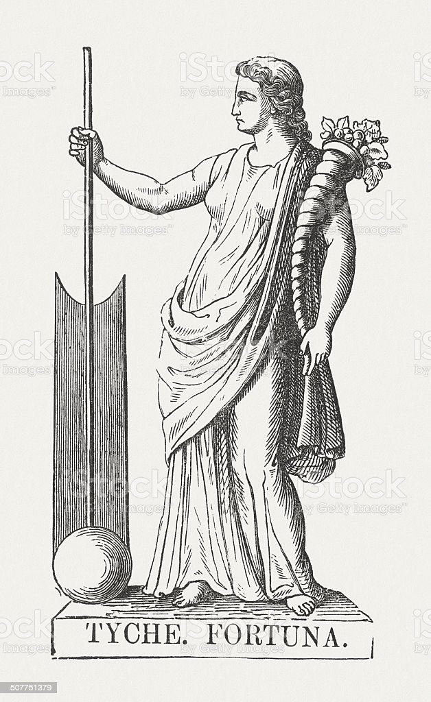 Tyche Greek Goddess Of Fortune Wood Engraving Published In 1878