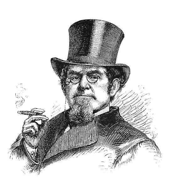 stockillustraties, clipart, cartoons en iconen met tycoon - guy with cigar