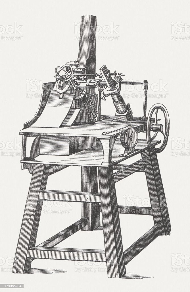 Type foundry machine, wood engraving, published in 1876 royalty-free stock vector art