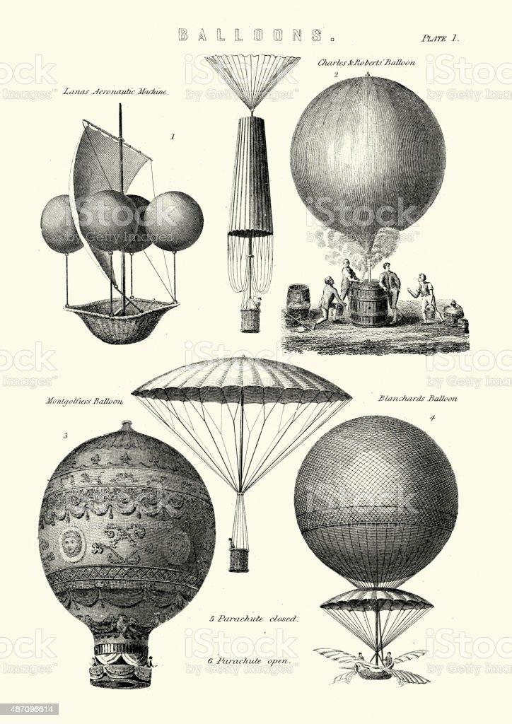 Tipos de globos aerostáticos - ilustración de arte vectorial