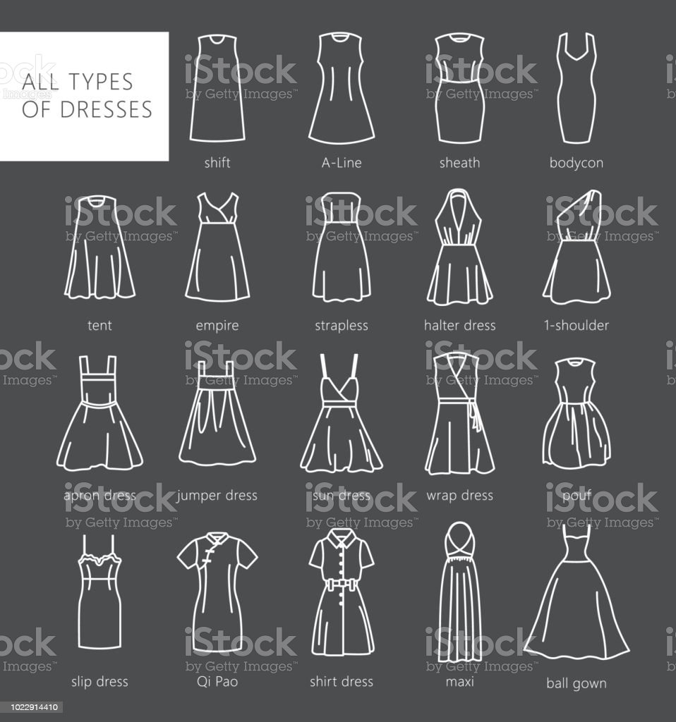 Types Of Womens Dresses Stock Illustration Download Image Now Istock