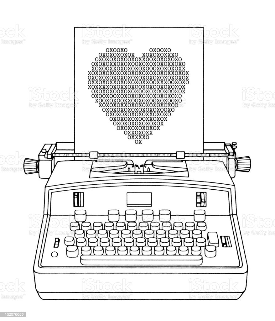 Typewriter With Heart on Paper royalty-free typewriter with heart on paper stock vector art & more images of affectionate
