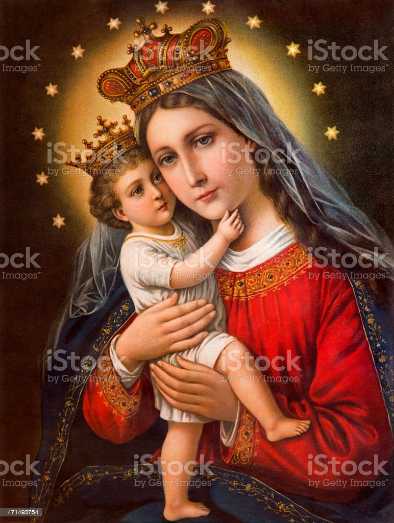 Typical catholic image of Madonna with the child vector art illustration