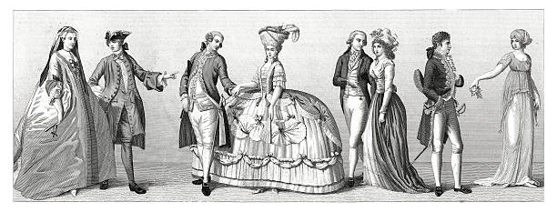 stockillustraties, clipart, cartoons en iconen met typical costumes from western europe - germany, france (xviii century) - 18e eeuw