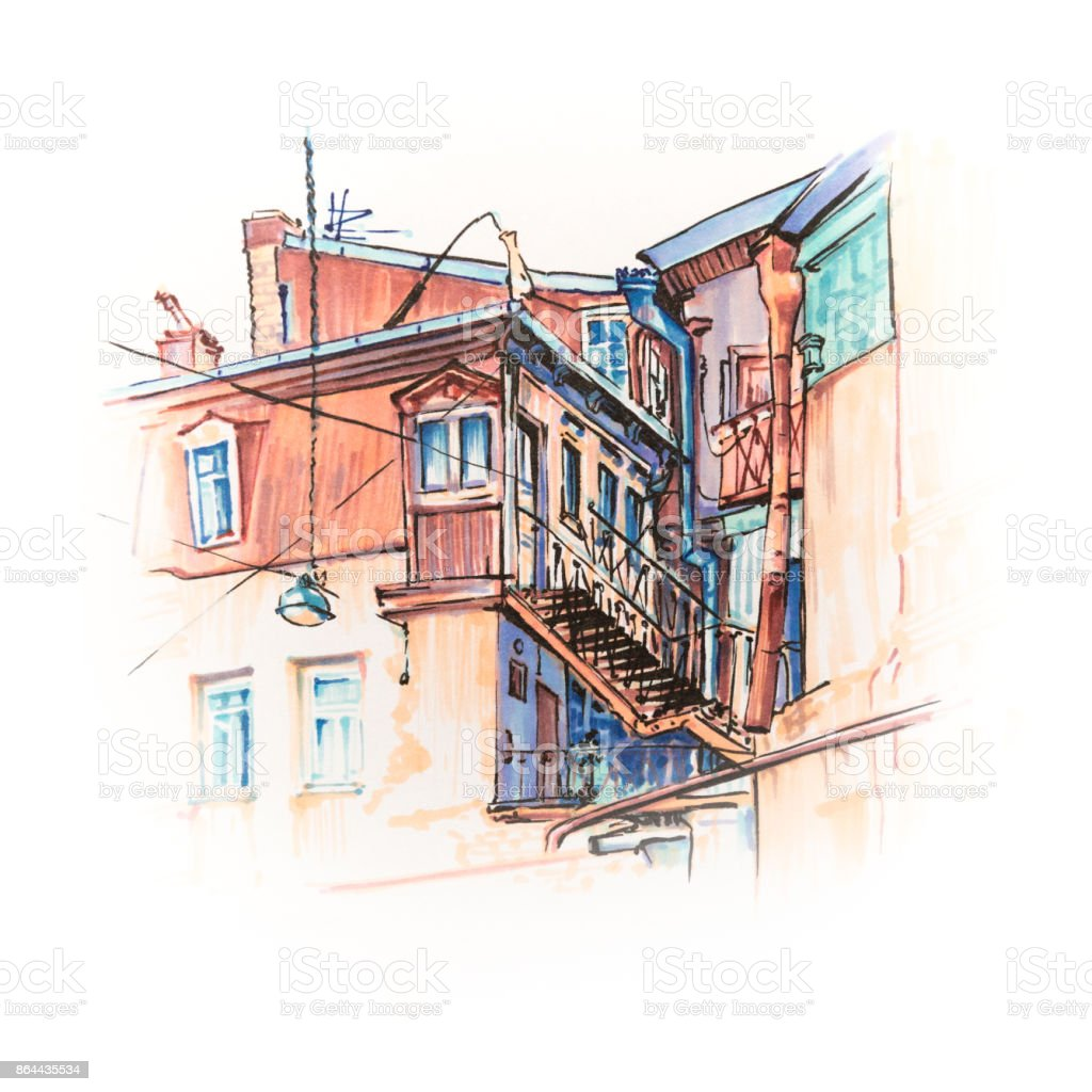 Typical Georgian house in Tbilisi, Georgia vector art illustration