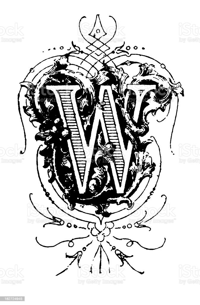 Typographic decoration | Letter W royalty-free typographic decoration letter w stock vector art & more images of 19th century