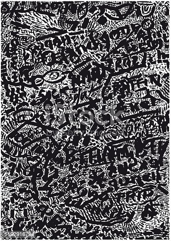 Inspired by new primitivism, aboriginal art, 1990s street art and graffiti visual influence. Created by hand as calligraphic standalone piece