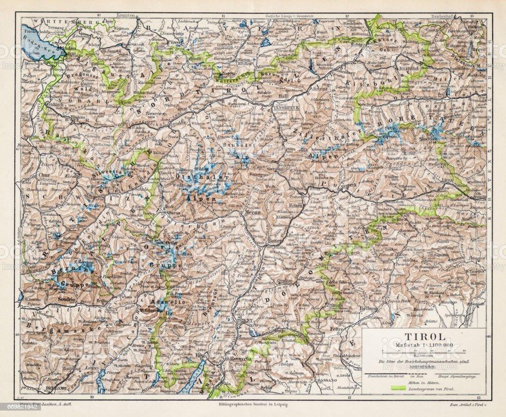 Tyrol map 1895 vector art illustration