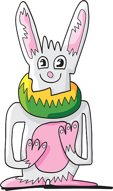 "Ugly Rabbit Doodle Character ""Vector illustration of an ugly rabbit doodle character. The line art, color and shadow are on separate layers. The background is transparent, so you can use the illustration on your own background. The colors in the .eps-file are ready for print (CMYK). Included files: EPS (v8) and Hi-Res JPG."" doodle NOT black and white stock illustrations"