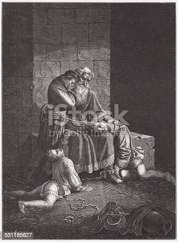 Ugolino and his Sons Starving to Death in the Tower of Pisa. According to Dante, the prisoners were slowly starved to death and before dying Ugolino's children begged him to eat their bodies. Woodcut engraving after a drawing by H. Jenny from the book