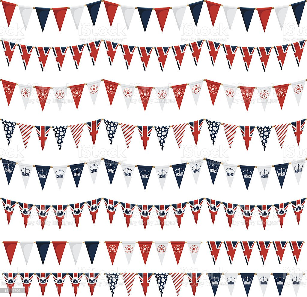 uk party bunting pack vector art illustration