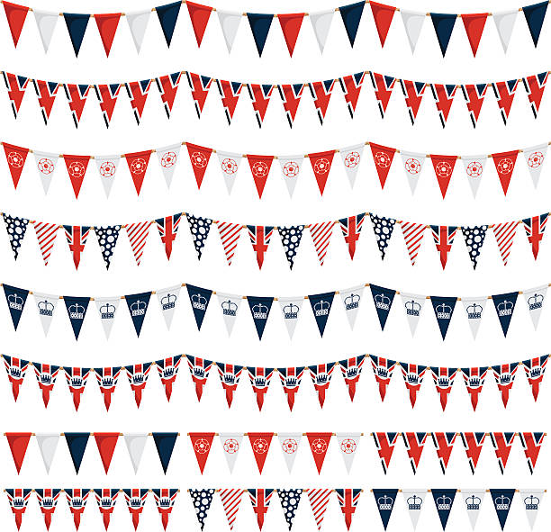 uk party bunting pack - uk flag stock illustrations, clip art, cartoons, & icons