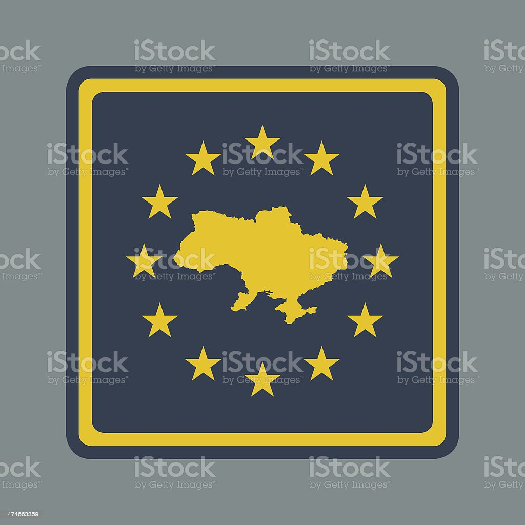 Ukraine European flag button royalty-free stock vector art