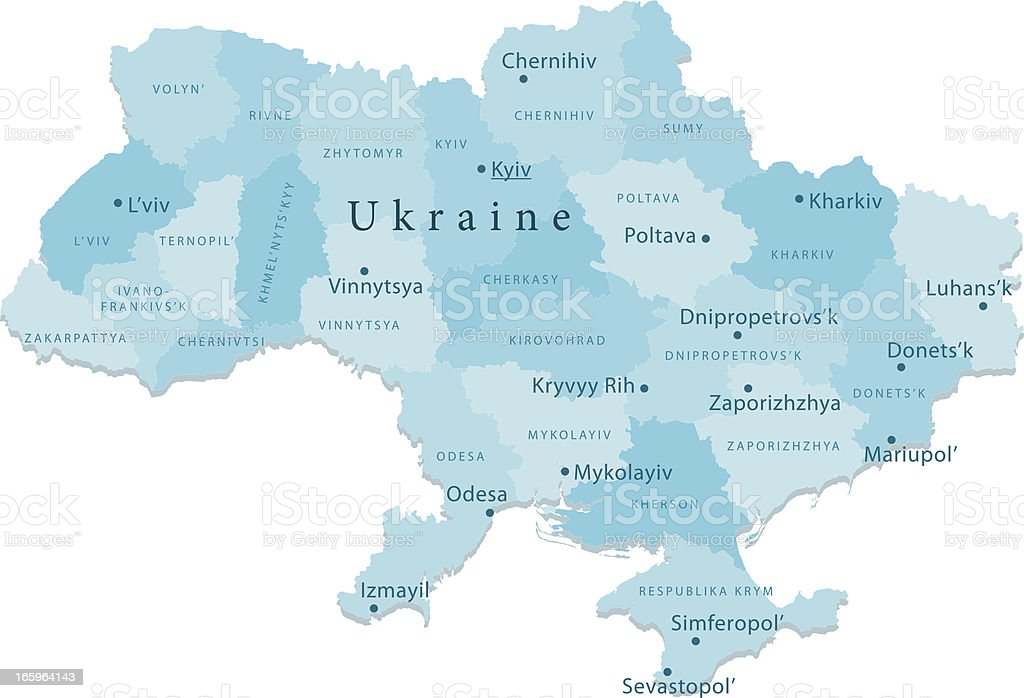 Ukraine Vector Map Regions Isolated royalty-free ukraine vector map regions isolated stock vector art & more images of blue