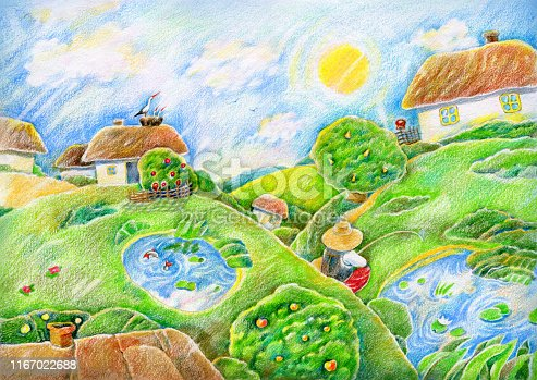 Ukrainian village landscape. Hand-drawn illustration. Colored pencil on paper.