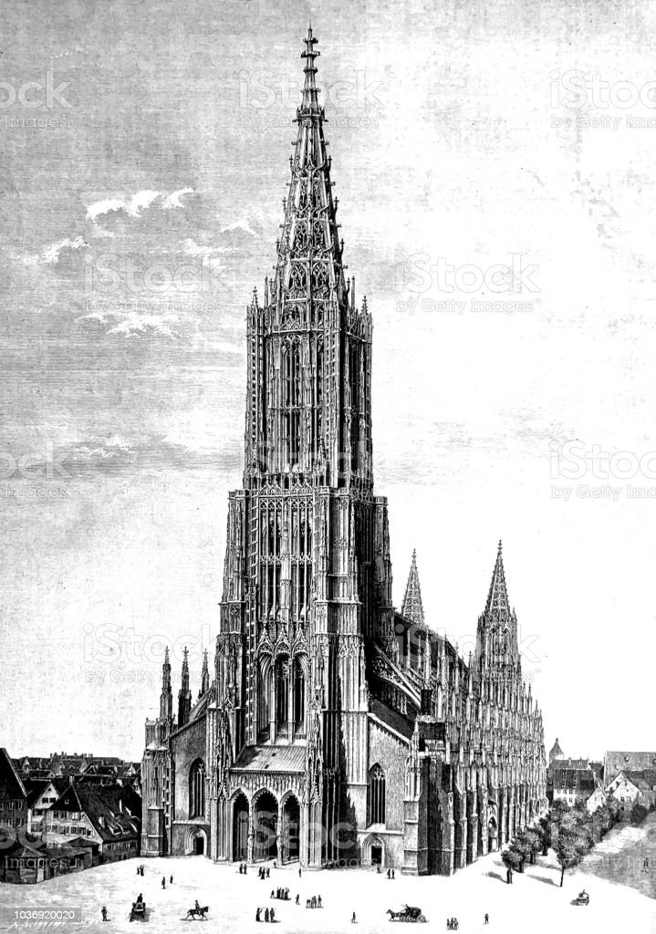Ulmer Münster Der Höchste Kirchturm Der Welt Stock Vektor Art Und