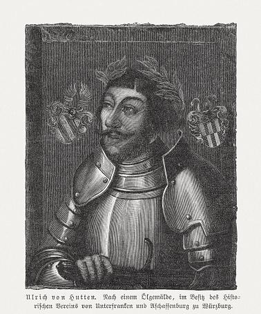 Ulrich von Hutten (1488-1523), German Renaissance humanist, woodcut, published 1897