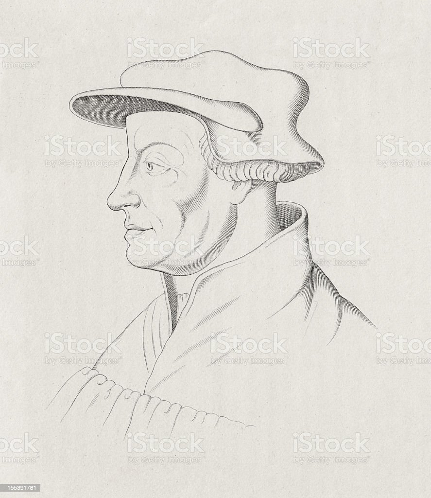Ulrich Zwingli (1484-1531), Swiss reformer, steel engraving, published in 1872 royalty-free stock vector art