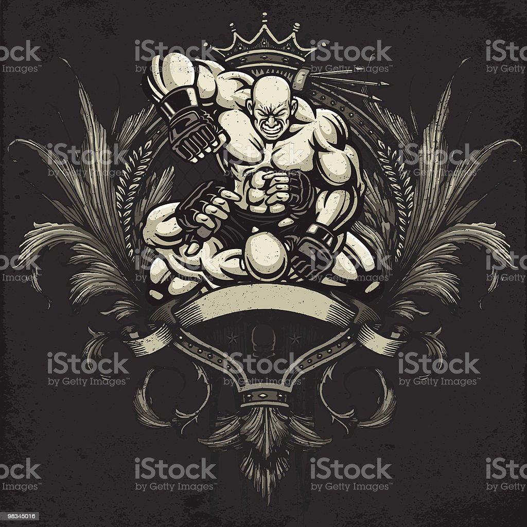 Ultimate Fighter Punching Opponent: Heraldry Crest Version royalty-free stock vector art