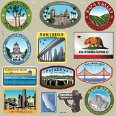 Series of Ultra Stylized Retro/Vintage California Travel Style Stickers. Great for an old style look of California.