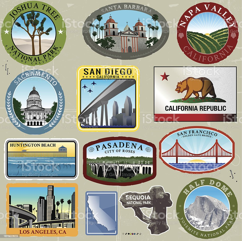 Ultra Styliezed California Travel Stamps vector art illustration