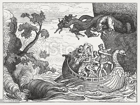 istock Ulysses and the Scylla, Greek mythology, wood engraving, published 1880 538041412