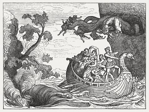 Ulysses and the Scylla, Greek mythology, wood engraving, published 1880