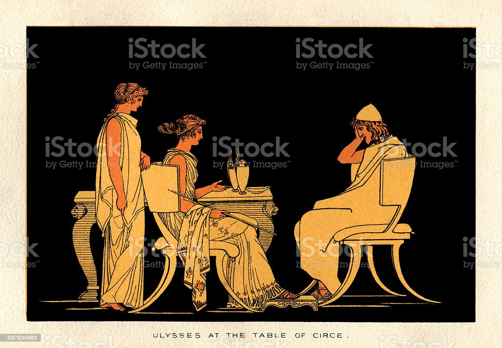 Ulysses at the table of Circe vector art illustration
