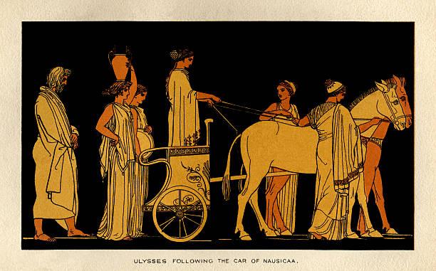 Ulysses following the car of Nausicaa vector art illustration