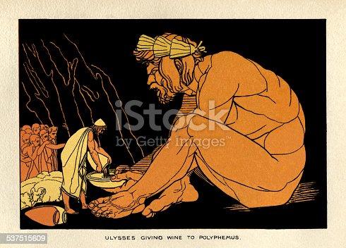 istock Ulysses giving wine to Polyphemus 537515609