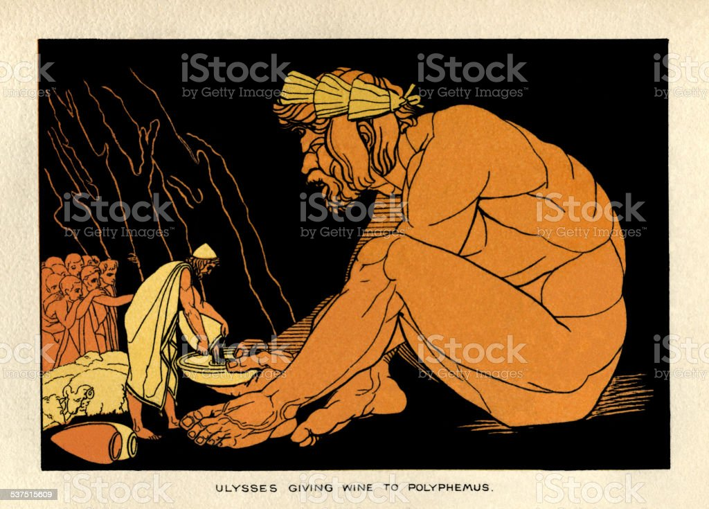 Ulysses giving wine to Polyphemus vector art illustration