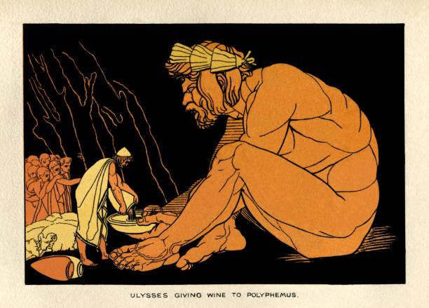 Ulysses giving wine to Polyphemus vector art illustration