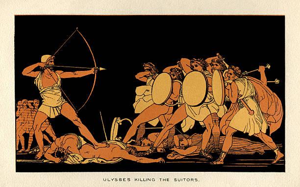 Ulysses killing the suitors vector art illustration