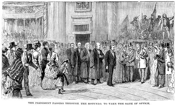 ulysses s. grant inaugration engraving - inauguration stock illustrations